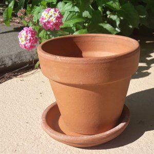 Vintage Terracotta Clay Flower Pot Italy Garden
